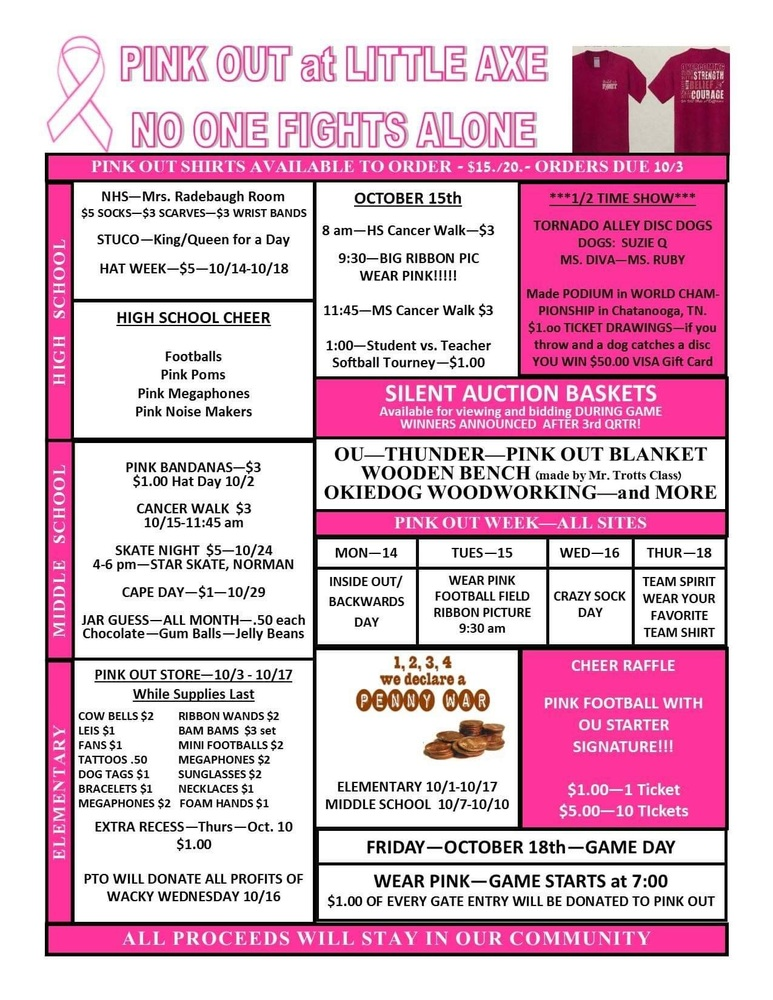 ​Activities for Pink Out Week.