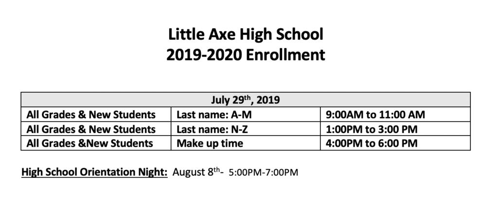 High school enrollment times for school year 19-20