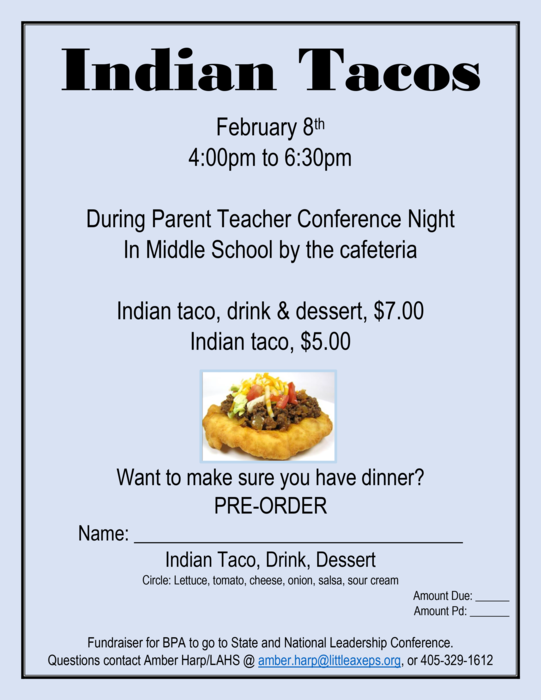 Indian Taco fundraiser